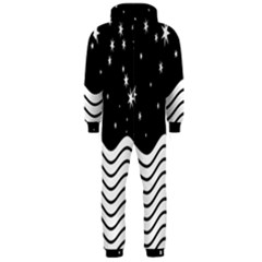 Black And White Waves And Stars Abstract Backdrop Clipart Hooded Jumpsuit (men)
