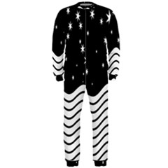 Black And White Waves And Stars Abstract Backdrop Clipart Onepiece Jumpsuit (men)