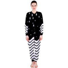 Black And White Waves And Stars Abstract Backdrop Clipart Onepiece Jumpsuit (ladies)