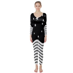 Black And White Waves And Stars Abstract Backdrop Clipart Long Sleeve Catsuit