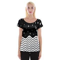Black And White Waves And Stars Abstract Backdrop Clipart Women s Cap Sleeve Top