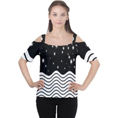 Black And White Waves And Stars Abstract Backdrop Clipart Women s Cutout Shoulder Tee