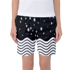 Black And White Waves And Stars Abstract Backdrop Clipart Women s Basketball Shorts