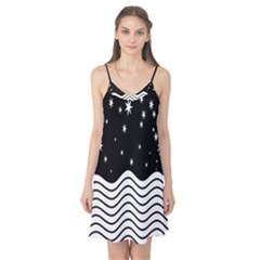 Black And White Waves And Stars Abstract Backdrop Clipart Camis Nightgown