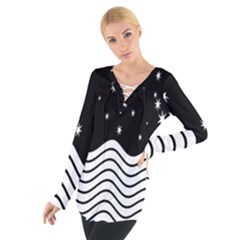 Black And White Waves And Stars Abstract Backdrop Clipart Women s Tie Up Tee