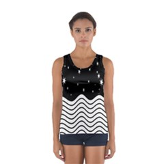 Black And White Waves And Stars Abstract Backdrop Clipart Women s Sport Tank Top