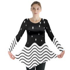 Black And White Waves And Stars Abstract Backdrop Clipart Long Sleeve Tunic