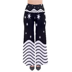 Black And White Waves And Stars Abstract Backdrop Clipart Pants
