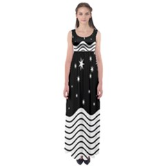 Black And White Waves And Stars Abstract Backdrop Clipart Empire Waist Maxi Dress