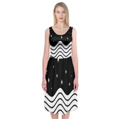 Black And White Waves And Stars Abstract Backdrop Clipart Midi Sleeveless Dress