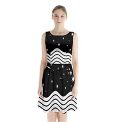 Black And White Waves And Stars Abstract Backdrop Clipart Sleeveless Chiffon Waist Tie Dress