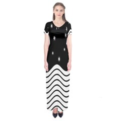 Black And White Waves And Stars Abstract Backdrop Clipart Short Sleeve Maxi Dress