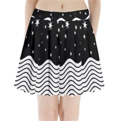 Black And White Waves And Stars Abstract Backdrop Clipart Pleated Mini Skirt