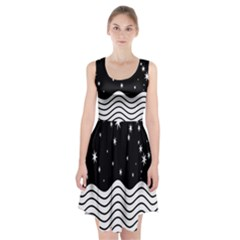 Black And White Waves And Stars Abstract Backdrop Clipart Racerback Midi Dress
