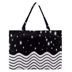 Black And White Waves And Stars Abstract Backdrop Clipart Medium Zipper Tote Bag