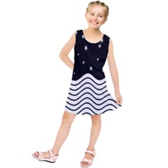 Black And White Waves And Stars Abstract Backdrop Clipart Kids  Tunic Dress