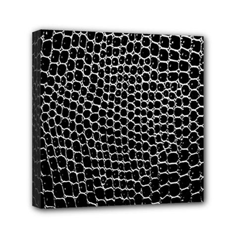 Black White Crocodile Background Mini Canvas 6  X 6
