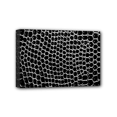 Black White Crocodile Background Mini Canvas 6  X 4
