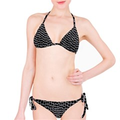 Black White Crocodile Background Bikini Set