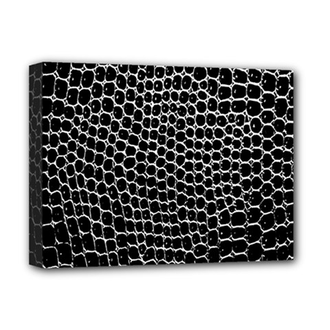 Black White Crocodile Background Deluxe Canvas 16  X 12