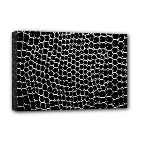Black White Crocodile Background Deluxe Canvas 18  X 12