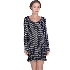 Black White Crocodile Background Long Sleeve Nightdress