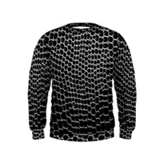 Black White Crocodile Background Kids  Sweatshirt