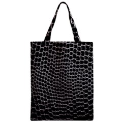 Black White Crocodile Background Zipper Classic Tote Bag