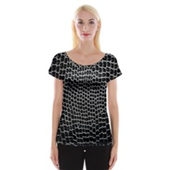 Black White Crocodile Background Women s Cap Sleeve Top