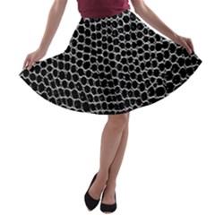 Black White Crocodile Background A-line Skater Skirt