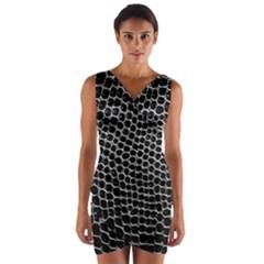 Black White Crocodile Background Wrap Front Bodycon Dress