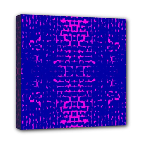 Blue And Pink Pixel Pattern Mini Canvas 8  X 8
