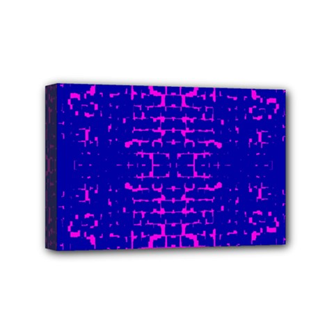 Blue And Pink Pixel Pattern Mini Canvas 6  X 4