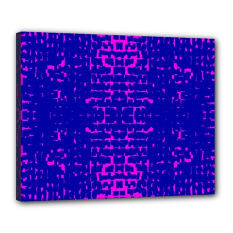 Blue And Pink Pixel Pattern Canvas 20  X 16