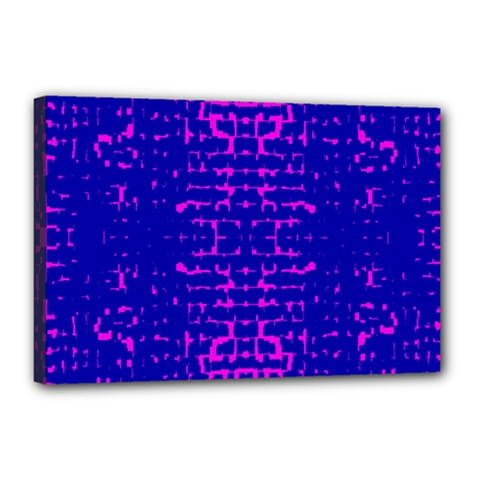 Blue And Pink Pixel Pattern Canvas 18  X 12