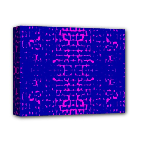 Blue And Pink Pixel Pattern Deluxe Canvas 14  X 11