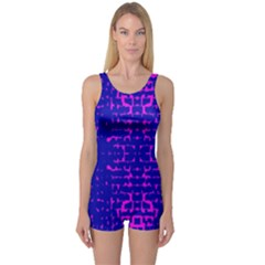 Blue And Pink Pixel Pattern One Piece Boyleg Swimsuit