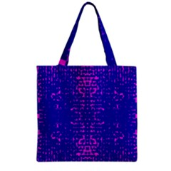 Blue And Pink Pixel Pattern Grocery Tote Bag