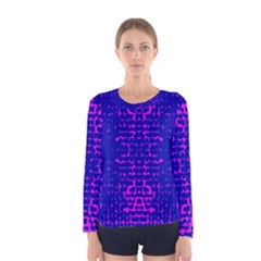 Blue And Pink Pixel Pattern Women s Long Sleeve Tee