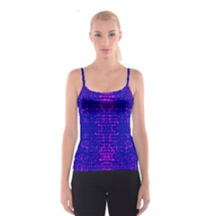 Blue And Pink Pixel Pattern Spaghetti Strap Top