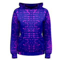 Blue And Pink Pixel Pattern Women s Pullover Hoodie