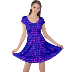 Blue And Pink Pixel Pattern Cap Sleeve Dresses
