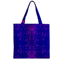 Blue And Pink Pixel Pattern Zipper Grocery Tote Bag