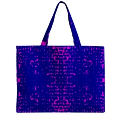 Blue And Pink Pixel Pattern Zipper Mini Tote Bag