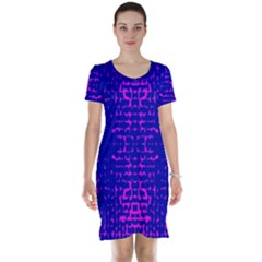 Blue And Pink Pixel Pattern Short Sleeve Nightdress