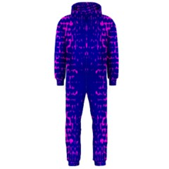 Blue And Pink Pixel Pattern Hooded Jumpsuit (men)