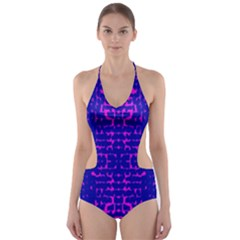 Blue And Pink Pixel Pattern Cut Out One Piece Swimsuit
