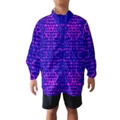 Blue And Pink Pixel Pattern Wind Breaker (kids)
