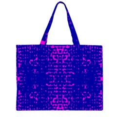Blue And Pink Pixel Pattern Large Tote Bag