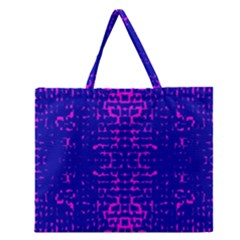 Blue And Pink Pixel Pattern Zipper Large Tote Bag